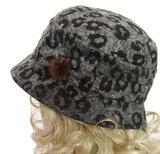 Prachtige dameshoed met luipaardprint kleur grijs_