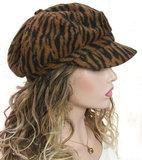 Prachtige gevoerde damesbaret met zebra print kleur roestbruin en grijs_
