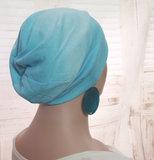 batik print blauw aqua zomermuts
