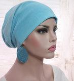 Chemo longbeanie dubbellaags aqua blauw batik beide kanten draagbaar_