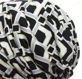 Voorgevormde bandana voor chemo haarverlies zwart wit print_