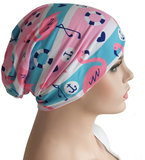 Chemomuts beanie zomerse print flamengo's en ankers roze wit blauw maat one size_
