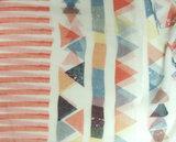 Zomer sjaal abstracte print met strepen kleur oranje blauw natuur maat 170 x 70 centimeter_