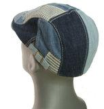 Patchwork flatcap denim spijkerstof pet herenpet van katoen kleur blauw_