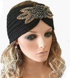 Trendy hoofdband haarband van acryl met broche in verschillende kleuren maat one size_