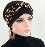 Set van chemo beanie zwarte chemomuts en hoofdband velvet dierprint luipaard zwart / bruin_