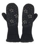 Warme gevoerde zwarte wanten dames kleur zwart met sterren en strass maat M/L_