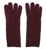 Dames lange gebreide handschoenen in bordeaux rood_