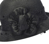 Cloche jaren 20 style van toyostro kleur zwart met bloemversiering_