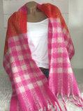 omslagdoek pink rood offwhite rafels