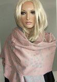 Heerlijk warme wintersjaal met sterren kleur roze_