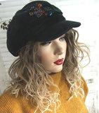 Winterpet ballonmuts baret met klepje zwarte fluweel stof_
