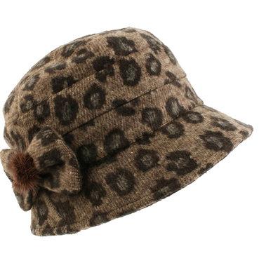 Prachtige dameshoed met luipaardprint kleur bruin