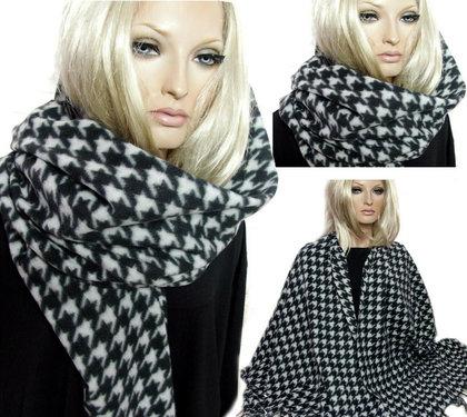 XXL houndstooth print sjaal omslagdoek zwart wit van Indini