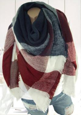 Nieuw!! XXL shabby wintersjaal damessjaal geblokt kleur blauw rood