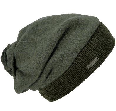 Seeberger baretmuts van 100% schuurwol khaki groen