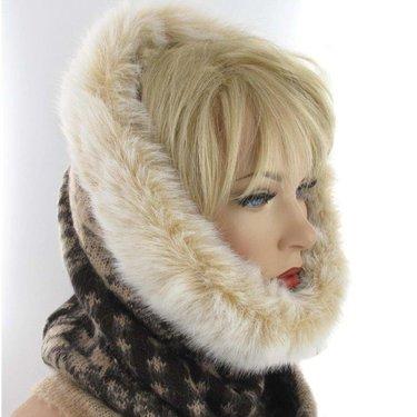 Warme winter col voor dames met bontrand kleur bruin beige