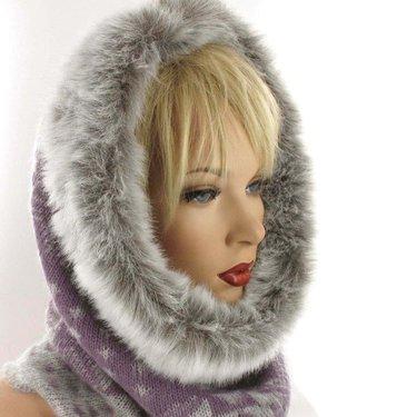 Warme winter col voor dames met bontrand kleur lila grijs
