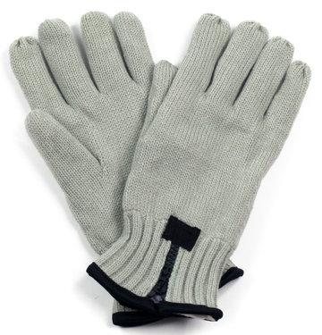 Heren handschoenen lichtgrijs met ritsje gevoerd met fleece stof