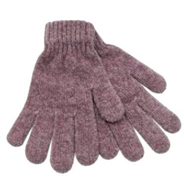 Chenille dames handschoenen kleur oudroze