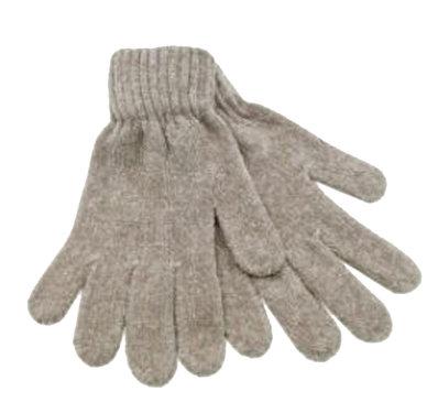 Chenille dames handschoenen kleur naturel