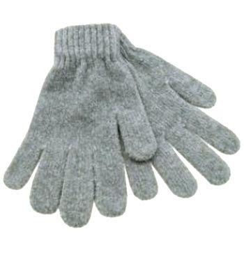 Chenille dames handschoenen kleur grijs