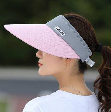 Zonneklep met extra brede en lange klep voor optimale bescherming in roze met grijs