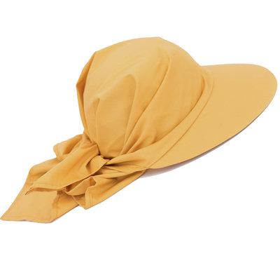 Nieuw! Knoop Zonneklep zonnepet in oker geel