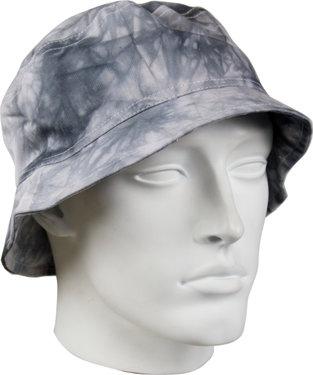 Bucket Hat katoenen vissershoedje in tie dye print batik grijs