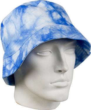 Bucket Hat katoenen vissershoedje in tie dye print batik blauw