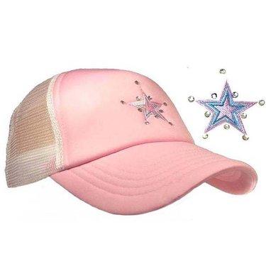 Dames mesh cap strass steentjes kleur roze met wit