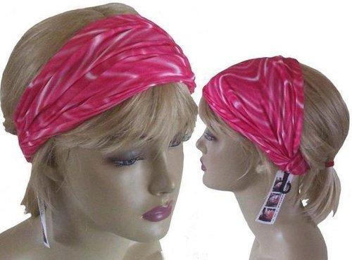 Multifunctionele haarband kleur batik donkerroze