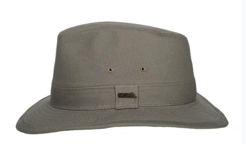 Hatland Ranfield katoenen hoed crushable met UV protectie 50+ kleur olive
