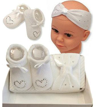 Baby kado set hoofdband en sokjes kleur wit