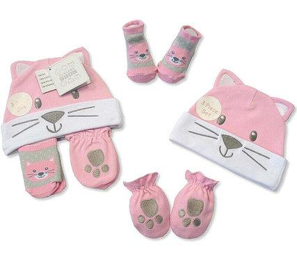 Baby kado set mutsje wanten en sokjes meisje 0 tot 6 maand