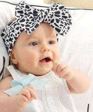 Hoofdband voor babies met grote strik kleur zwart wit