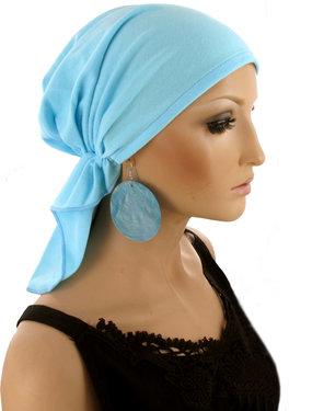 Hoofddoekje bandana voor chemo haarverlies babyblauw
