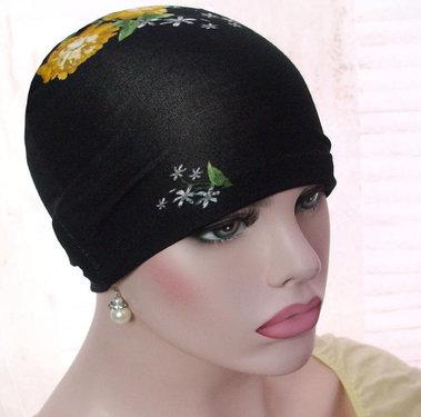 Chemo haarverlies basismuts slaapmuts zwart met bloem