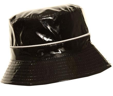 Lak bucket regenhoedje kleur zwart