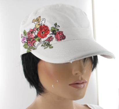 Katoenen witte zomerpet met bloemenprint