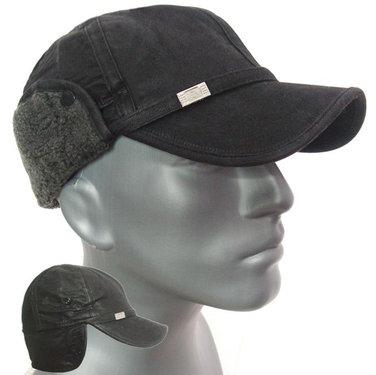 Warme leder look cap met oorwarmers kleur zwart