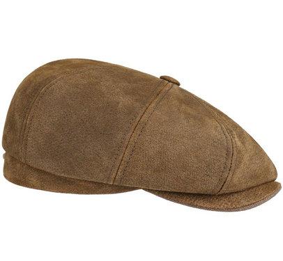 BURNEY Stetson oversized lederen flatcap
