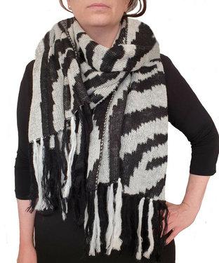 Zebra sjaal wintersjaal zwart wit XXL Nieuw !