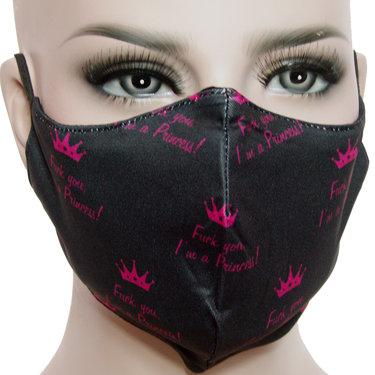 Mondkapje mondmasker wasbaar stof herbruikbaar zwart print kroontje