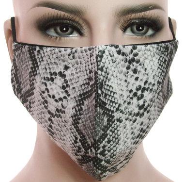 Mondkapje mondmasker wasbaar stoffen herbruikbaar slangenprint grijs