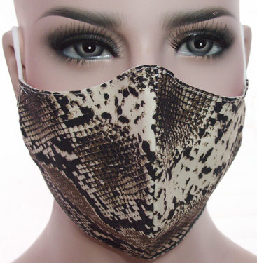 Mondkapje mondmasker wasbaar stoffen herbruikbaar slangenprint bruin