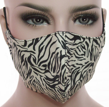 Mondkapje mondmasker wasbaar stoffen herbruikbaar zebra print beige zwart
