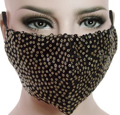 Mondkapje mondmasker wasbaar stoffen herbruikbaar zwart met goudkleur pailletten