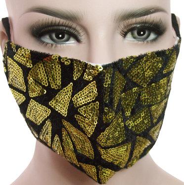 Mondkapje mondmasker wasbaar stof herbruikbaar met grote goudkleur pailletten