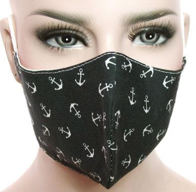 Mondkapje mondmasker wasbaar stoffen herbruikbaar zwart met ankertjes